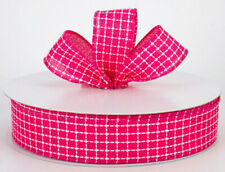"""1.5"""" wired ribbon fuchsia pink embroidered stitched squares Valentine 5 yards"""