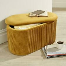 Aurora Velvet Mustard Ottoman Storage Box Pouffe Stool Footstool Storage Bench