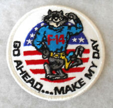 "US NAVY 1980'S ""F-14"" TOM CAT ""GO AHEAD...MAKE MY DAY""  EMB ON TWILL ME 4"" DIAM"