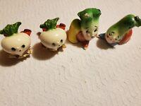 Vintage Anthropomorphic Salt and Pepper Shaker Set Lot Turnip Cabbage Lettuce