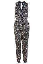 Miss Selfridge Animal Leopard Jumpsuit Size 8 Black Nude Print Plunge Holiday