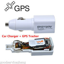 Portable White Car Charger GPS Tracker Locator GSM GPRS RealTime Tracking Device