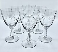"Set Of 6 Mid Century Fostoria Wheat 6051 837 Cut 6¼"" Water Wine Goblets Crystal"