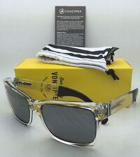 VONZIPPER Sunglasses VZ ELMORE Crystal Clear&Black Frames Silver Mirrored Lenses