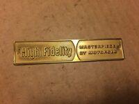 Vintage Motorola High Fidelity Metal Nameplate Badge Console Amplifier Tube Amp