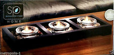 SARAH PEYTON VOTIVE CANDLE SET,WITH CANDLES,HOLDERS,RIVER ROCKS,WOODEN TRAY,NEW