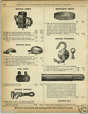 1892 PAPER AD Early Vintage Bicyle Lamp Padlock Lock Belt Bell Tricycle Velo