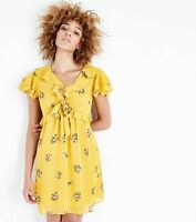 Ex New Look Yellow Floral Trim Summer Party Casual Tea Dress UK 6-18