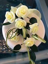 WEDDING CAKE TOPPER SUGAR ROSES WITH DIAMONTE IN YELLOW, ALSO IN MORE COLOURS FM