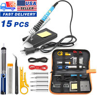15Pcs Soldering Tips Iron Kit Electronics 60W Adjustable Temperature Welding Too
