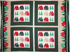 "Cotton fabric panel Christmas colors Home Sweet Home Quilt Pillows 42"" x 31"" #1"