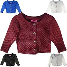 Girls Bolero New Quilted Padded Long Sleeve Party Crop Jacket Age 7 - 13 years