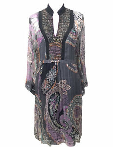 Etro Silk Dress Embroidered Sequins Lined Paisley IT 42 US 6