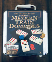 (NEW) Cardinal's Mexican Train Dominoes Family Board Game w Aluminum Carry Case