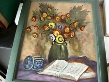 SCHILDERIJ/PEINTURE     FLEURS & LIVRE   peinture  H s/panneau   40x50 cm