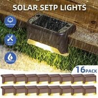 16Pc Outdoor Solar Power Deck Light LED Garden Yard Patio Stairs Step Fence Lamp