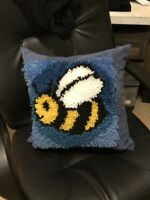 """Bumblebee Finished Latch Hook Pillow Adorable 18""""x18"""""""