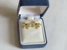 10K Gold Sapphire BUTTERFLY Earrings Pierced Jewelry NEW