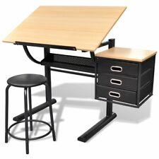 vidaXL Zeichentisch mit Hocker Architektentisch Schreibtisch Arbeitstisch Büro