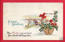 MERRY CHRISTMAS BASKET 1923  LUTHERAN SANITARIUM WHEAT RIDGE CO STAMP   POSTCARD