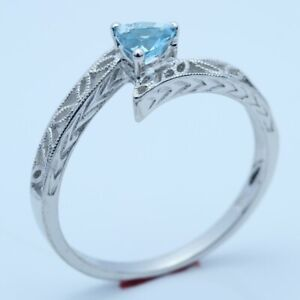 Trillion 0.23CT Swiss Blue Topaz Solitaire Ring Solid 10k White Gold Engagement