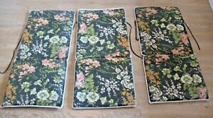 Vintage Swedish Cotton Seat Pad Replacement Cushion Garden Recliner Chair Floral