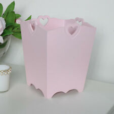 Pink Heart Detail Wooden Waste Paper Bin vintage shabby chic home decor bathroom
