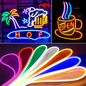 12V Flexible 2835 LED Strip Waterproof Sign Neon Lights Silicone Tube 1M 3M 5M