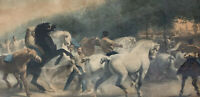 "ANTIQUE PRINT LITHO Etching THE HORSE FAIR ROSA BONHEUR Signed 20x30"" Rare"