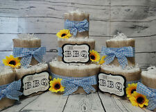 3 Tier Diaper Cake and sets - Bbq Baby Q Diaper Cake - Burlap and Blue Checker