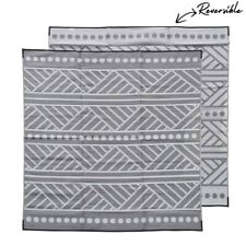 Plastic Outdoor Rug | Market Stall Mat | 3m Square, Grey & Off White