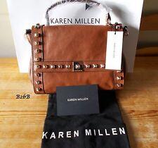 BNWT Karen Millen tan brown leather studded messenger bag purse £185