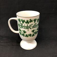 Vintage Porcelain Irish Coffee MUG CUP with Green Shamrocks Design