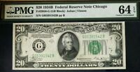 1934B $20 FEDERAL RESERVE NOTE BANK CHICAGO, PMG64 EPQ CHOICE UNCIRCULATED