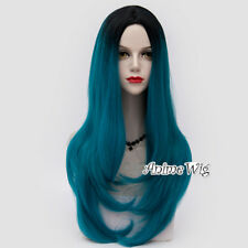 Classic Lolita 70cm Long Wavy Black Mixed Green&Blue Halloween Cosplay Wig+Cap