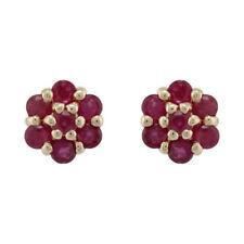 Pendientes de joyería con gemas naturales de oro amarillo rubí