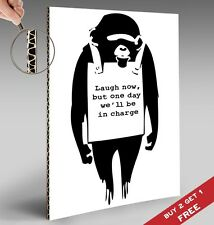 BANKSY Laugh Now A4 POSTER Graffiti Street Wall Art Print Popular Stencil Monkey