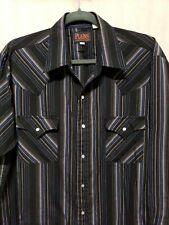 Plains Mens Sz L Western Shirt Pearl Snaps Black Blue Beige Stripes Pockets L/S