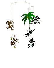 Flensted Monkey Tree Modern Hanging Baby Mobile Nursery Decor Danish—New!