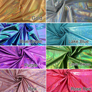 """Holographic Foil Iridescent Spandex Fabric 2 Way Stretchy 60"""" Wide By Yard"""