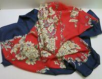 """100% Silk 42"""" Square Scarf Women's Vintage Floral Print Soft Hijab Wraps w/Box"""