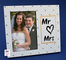 Mr & Mrs Modern 4 x 6 in (10 x 15 cm)  Picture Photo Frame Wedding Gift Present