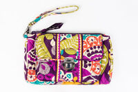 Vera Bradley Buckle Quilted Wallet Clutch Flower Pattern Purple Green Orange