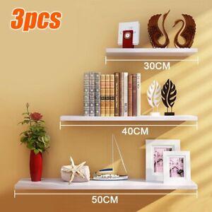 3 Floating Wooden Wall Mount Shelves Display Unit Shelf Set Book Storage UK