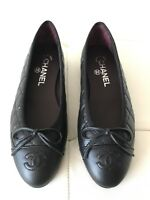 $795 CHANEL CLASSIC QUILTED BLACK CALFSKIN LEATHER BALLET FLATS 36
