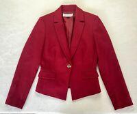 Tahari Arthur S. Levine Women's Red One Button Blazer Jacket Size 2 Lined
