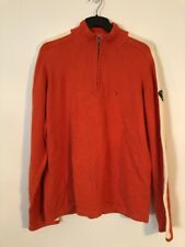 Tommy Hilfiger Ribbed Quarter Zip Sweater Orange Heather Mens Size XL