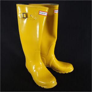 Hunter Original Gloss Tall Rain Boot Yellow Men's 8/Women's 9 Waterproof Rubber