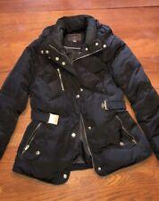 Cole Haan Taffeta Down Belt Coat Black- Medium