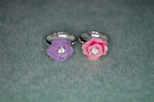 Bejeweled Beauty Rhinestone Flower Sterling Silver Plated Little Girl's Adj Ring